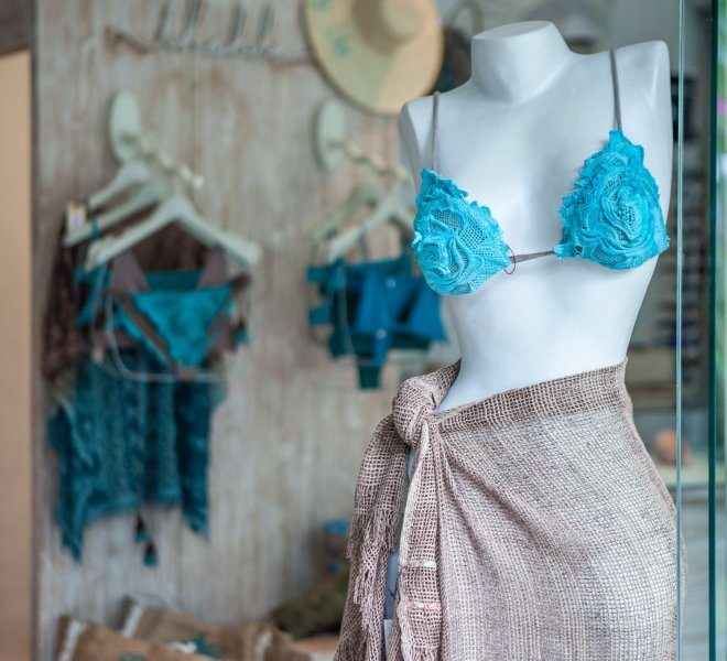 Indiana Kenanga shop window with a model wearing pieces from Thaikila